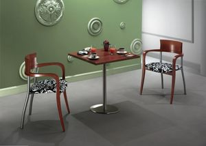 Icaro, Bar table with satin stainless steel base