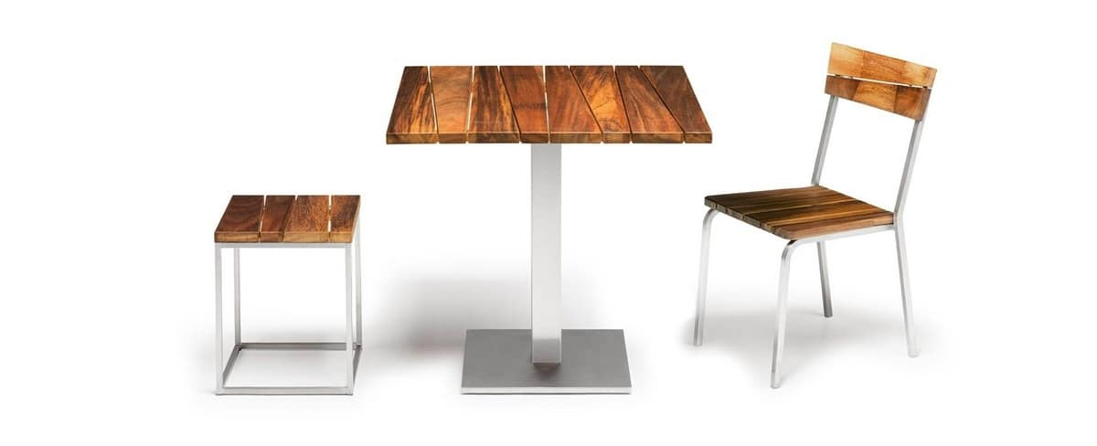 Sorrento/t, Outdoor table, in iroko wood and steel