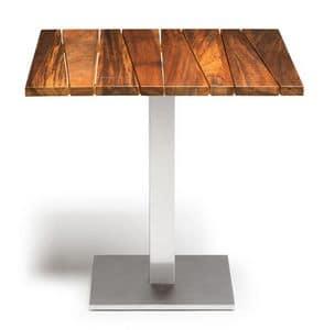 Sorrento/t, Outdoor table, in iroko wood and steel