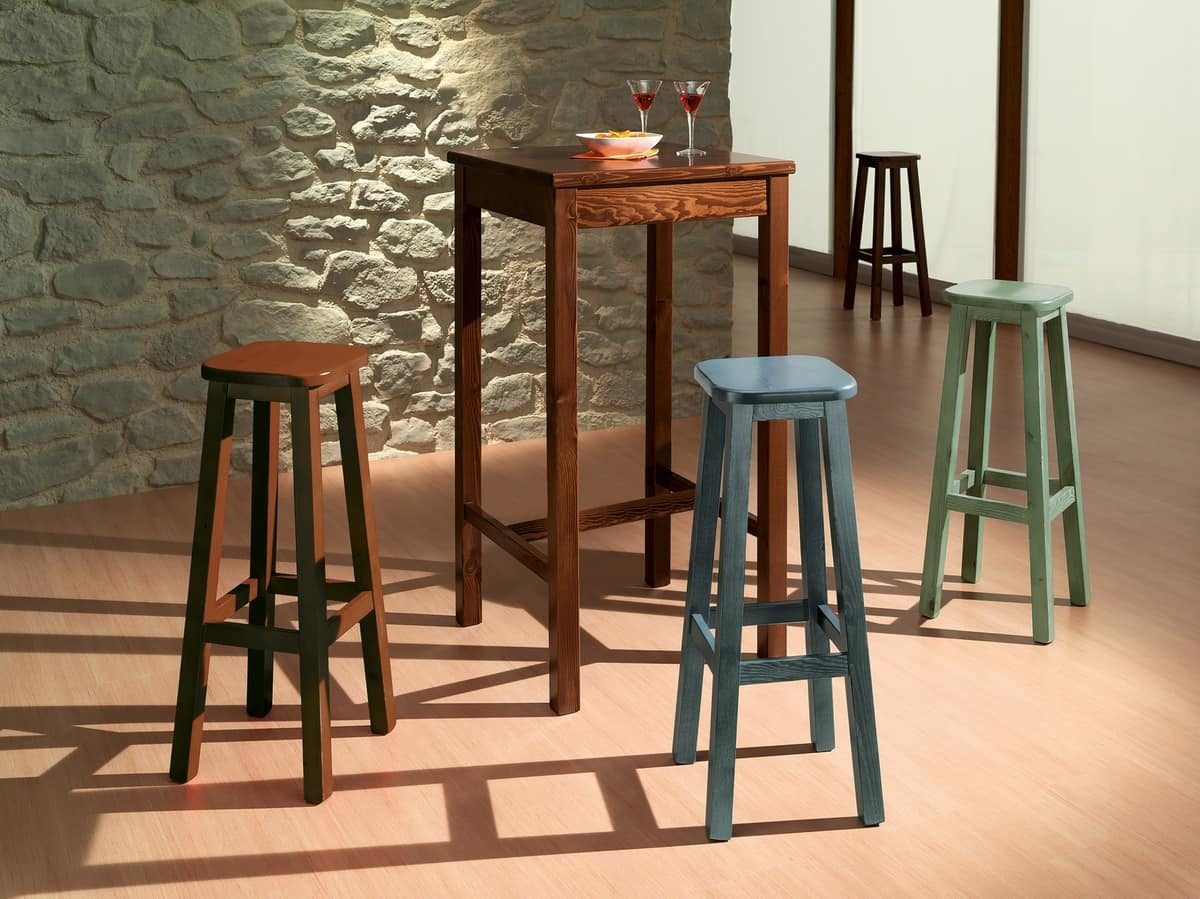 Square bar table, High table made entirely of pine, for rustic bar