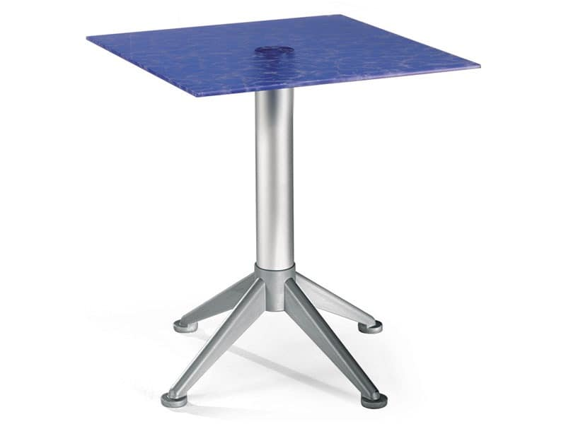 Table 60x60 cod. 20/BG4AV, Steel coffee table with colored glass top