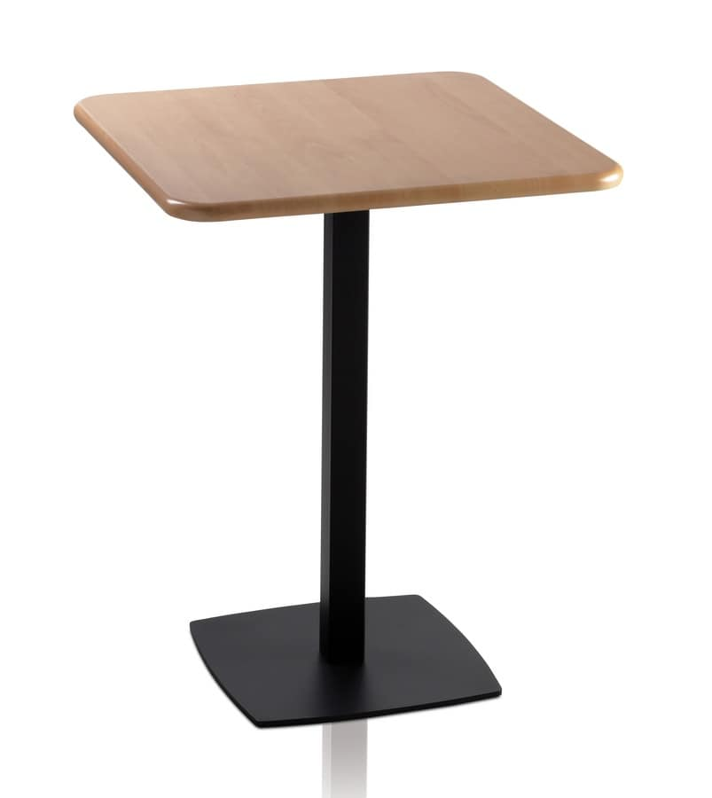 TOTEM 410, Square coffee table for bars, square metal base