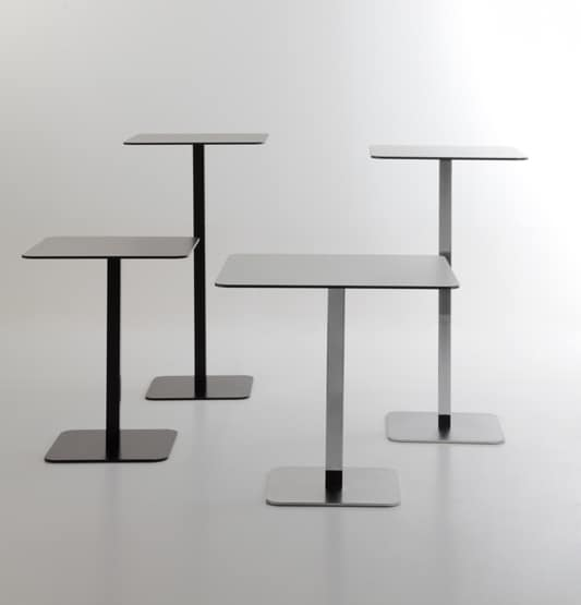 Voilà square h110, High table for cocktail bar, top in stratified HPL, metal base