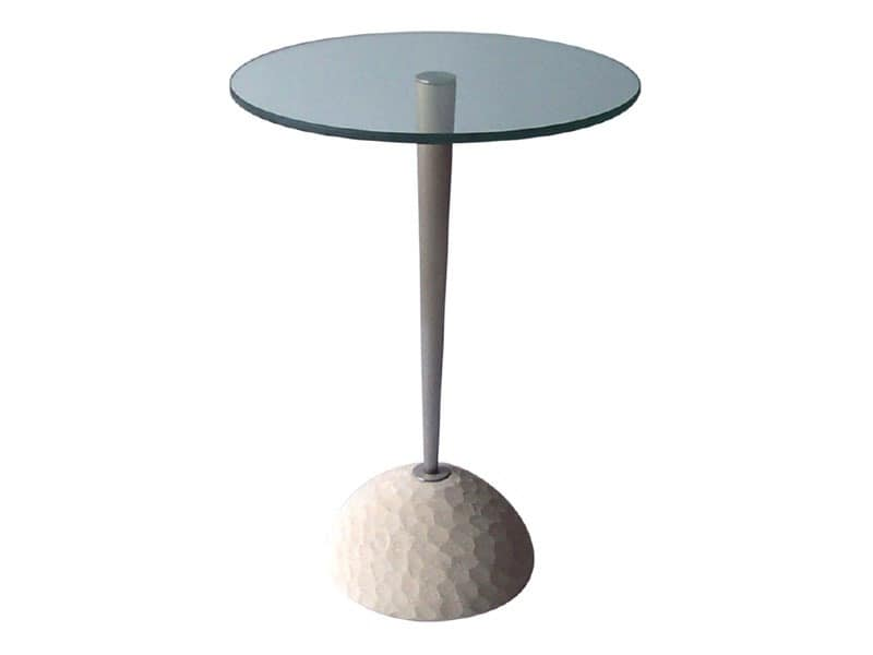 Egon, Round table made of stone and glass, for bars and restaurants