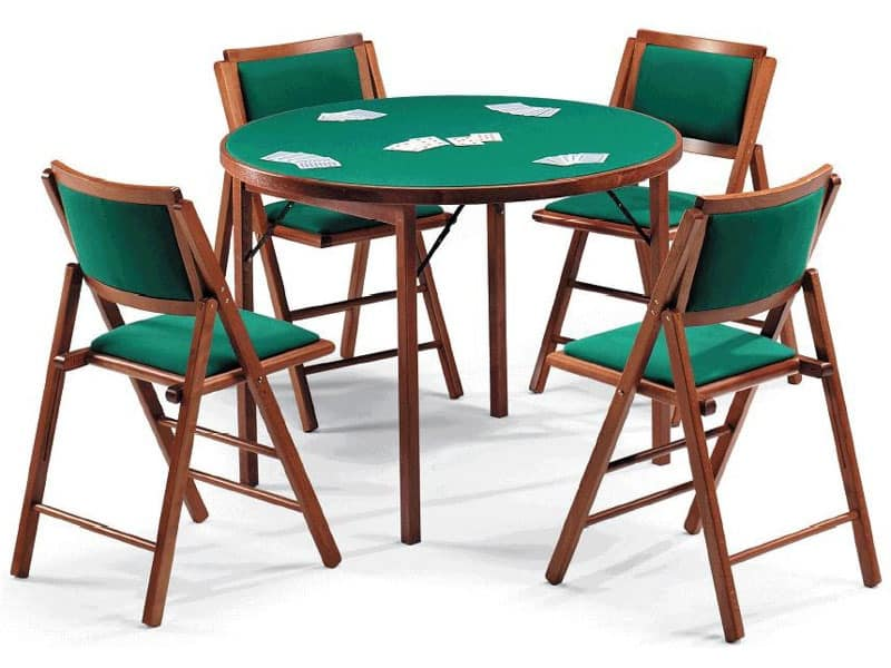 Gioco 111 table, 105IMB chair, Game table with green cloth, round top
