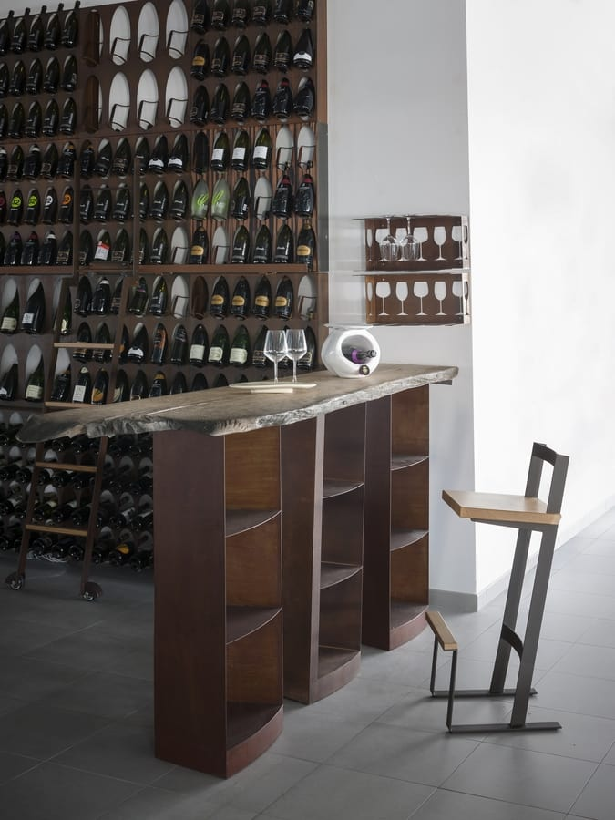 Snack, High table for barstools, with solid wood top