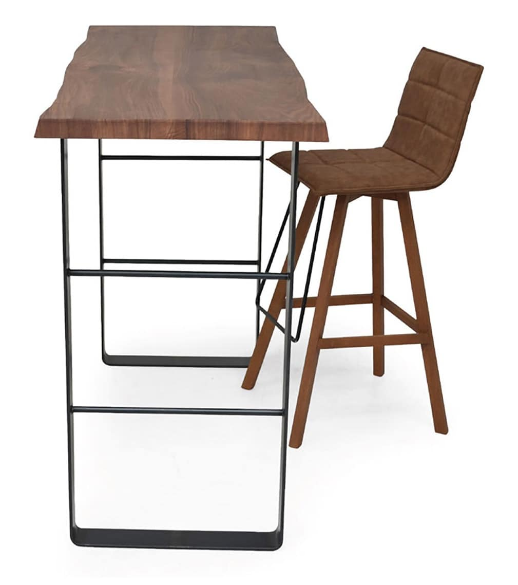 High table with metal base and aged wood top idfdesign snack high table with metal base and aged wood top watchthetrailerfo