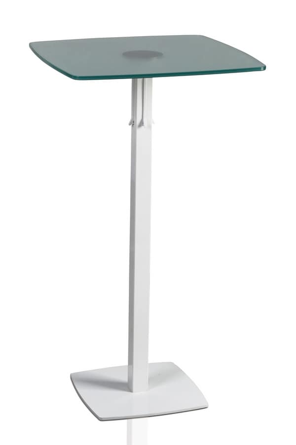TOTEM 415 C, High table with metal base, glass top, for bars