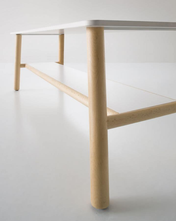Woody, Coffee table with beech legs, double top