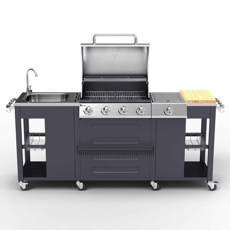 BEEFMASTER Gas grill made of stainless steel with 4+1 burners grill and sink - BB3554GEUN, Large barbeque counter