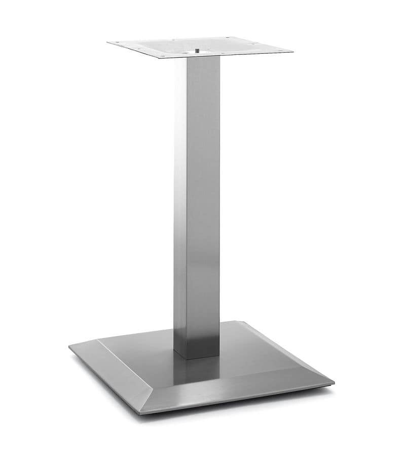 Art.251, Square base for table, brushed steel frame with a central tube, for contract and domestic use