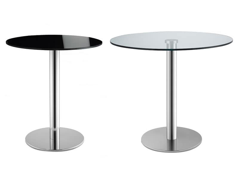 Tiffany Base - glass base, Round table for bars, in stainless steel, glass top