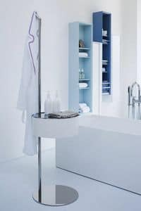 One-Two, Bathroom accessory in bent wood and stainless steel