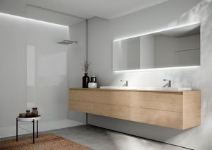 Cubik comp.16, Bathroom cabinet with two washbasins, with essential design