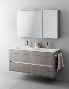 Duetto comp.14, Monoblock bathroom cabinet with double sink