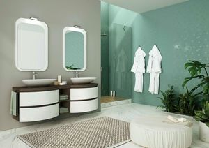 FREEDOM 06, Lacquered double vanity unit in melamine