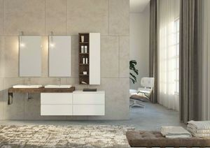 FREEDOM 35, Suspended double washbasin cabinet in fir wood with drawers