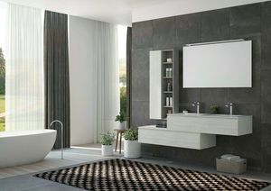FREEDOM 37, Double wall-mounted HPL vanity unit with mirror