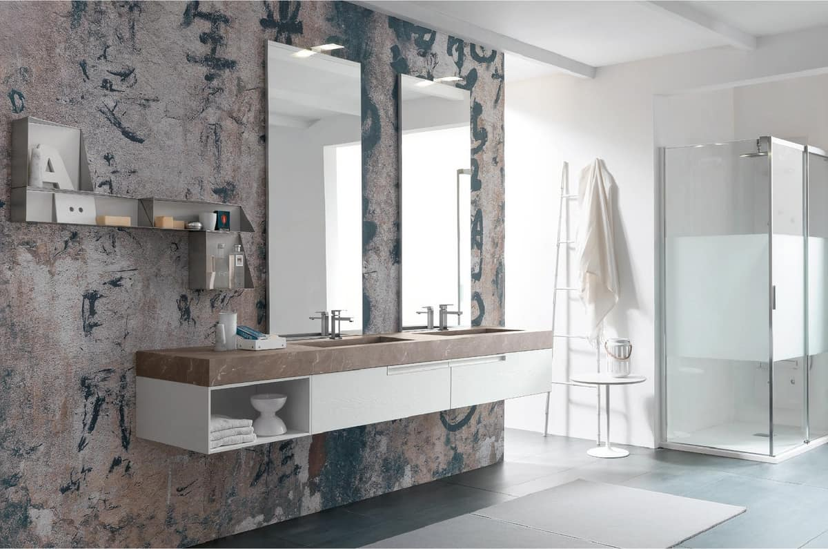 Bathroom furniture with two washbasins and two mirrors | IDFdesign