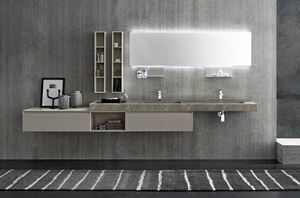 Lime 2.0 comp.04, Large bathroom cabinet with double washbasin in HPL