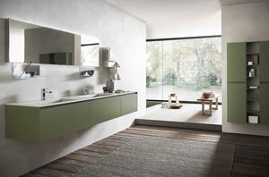 Lime 2.0 comp.17, Bathroom furniture with double stoneware washbasin, moss green finish