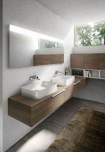 My time comp.07, Bathroom cabinet with two ceramic washbasins