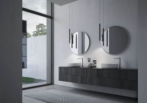 Sense comp.04, Bathroom furniture with two round ceramic washbasins