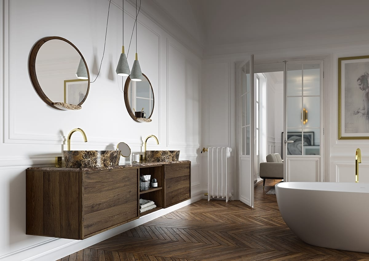Washbasin Base Coco 038 2 Oak Bathroom Cabinet With Double Sink