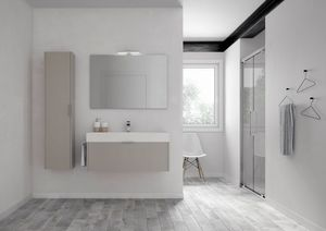 Basic comp.06, Bathroom cabinet with ceramic washbasin, with hanging column