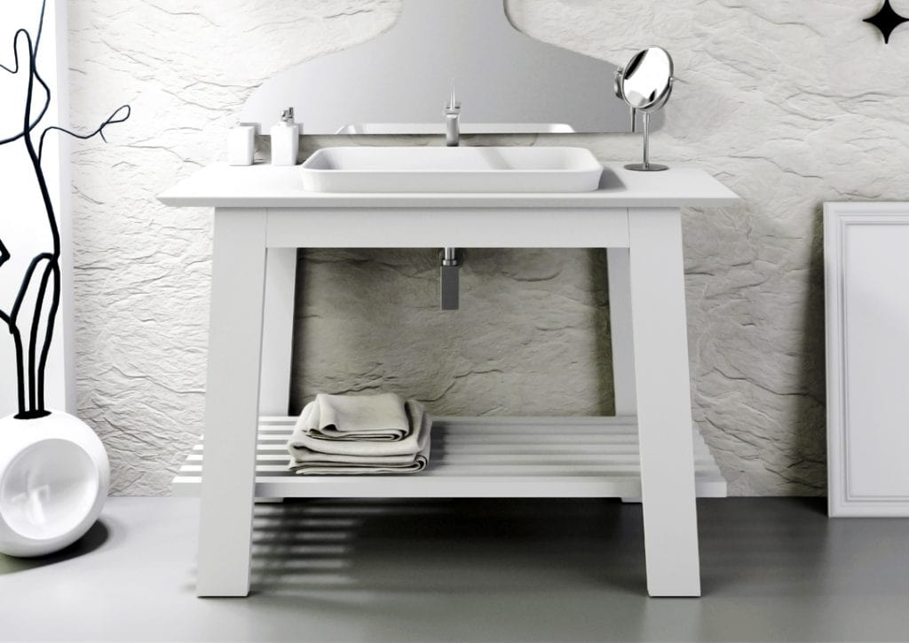Bath Table 03, White lacquered bathroom cabinet