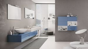 BLUES BL-15, Bathroom furniture with glossy blue cabinet