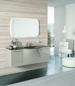 BLUES BL-20, Polished clear dove gray bathroom furniture
