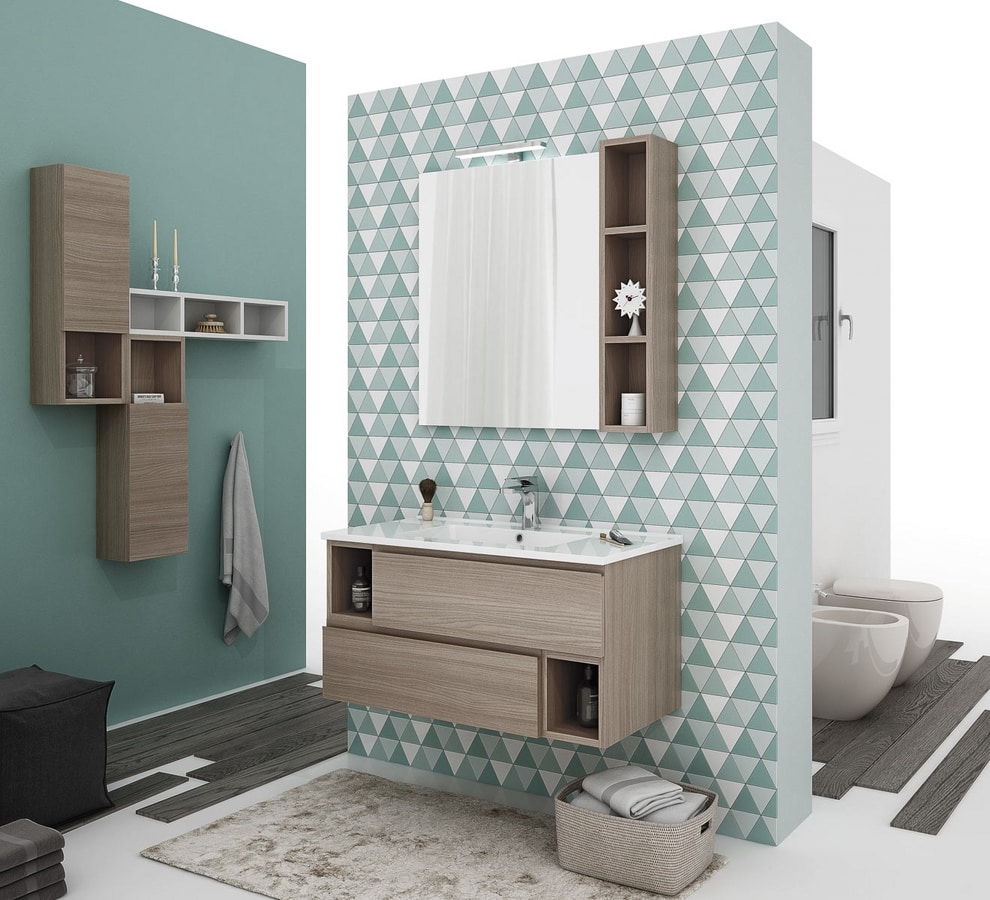CITY 03, Wall-mounted vanity unit with drawers