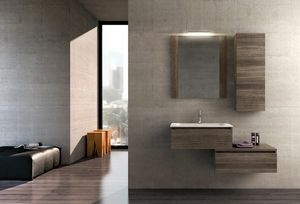 COMPONIBILE 01, Sectional wooden suspended vanity unit