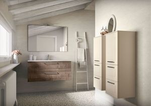 Dressy comp.02, Wall-mounted bathroom cabinet with integrated washbasin
