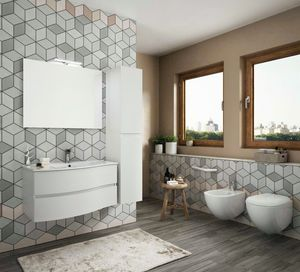 FLEX 04, Suspended bathroom cabinet with drawers with mirror