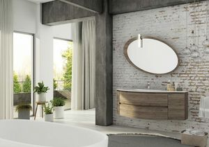 FREEDOM 01, Single wall-mounted HPL vanity unit with mirror