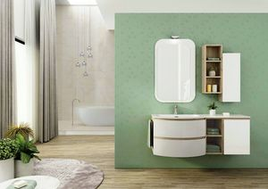 FREEDOM 03, Single wall-mounted HPL vanity unit with mirror