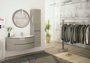 FREEDOM 04, Single wall-mounted HPL vanity unit with wardrobe