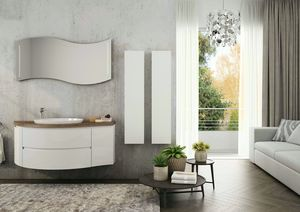 FREEDOM 07, Lacquered wall-mounted vanity unit in melamine with mirror