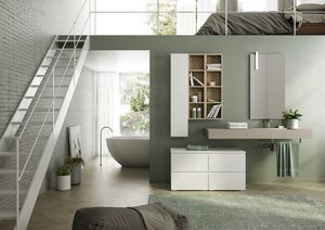 FREEDOM 09, Wall-mounted HPL vanity unit with towel rack with mirror