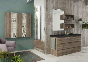 FREEDOM 10, Single HPL vanity unit with towel rail