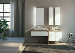 FREEDOM 12, Single lacquered fir-wood vanity unit with mirror