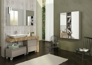 FREEDOM 13, Single vanity unit in wood with mirror