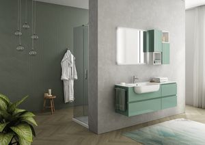 FREEDOM 15, Lacquered wall-mounted washbasin unit in HPL with towel rail