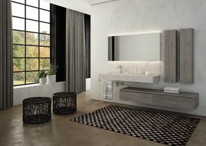 FREEDOM 23, Single wall-mounted HPL vanity unit with towel rail