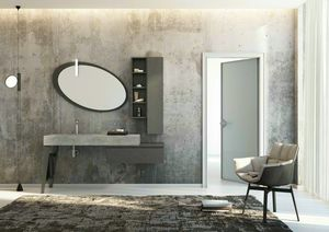 FREEDOM 24, Single porcelain stoneware vanity unit with doors with mirror