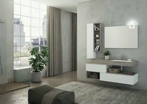 FREEDOM 26, Lacquered wall-mounted vanity unit in HPL with mirror