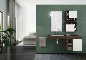 FREEDOM 27, Single wall-mounted HPL vanity unit with doors