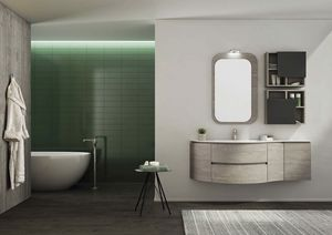 FREEDOM 30, Single wall-mounted HPL vanity unit with mirror